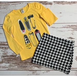 GYMBOREE Yellow Shoes Top Houndstooth Skirt Set 4